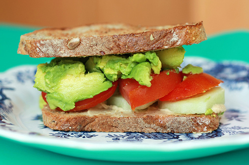 Avocado~Tomato~Hummus~Cucumber Toasted Sandwich